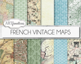 "French Vintage Maps digital papers, ""FRENCH VINTAGE MAPS"" backgrounds,antique maps, France, Paris maps, French geography, vintage maps"