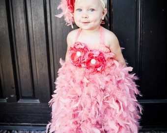 Coral feather dress and headband