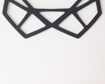 merryme Matt Black Geometric Collar Necklace with Ribbon Ties Statement Necklace