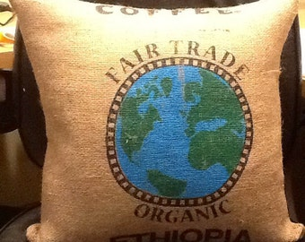 Burlap decorative burlap pillow throw cover  Authentic Dunn Bros Coffee burlap bag Coffee pillow