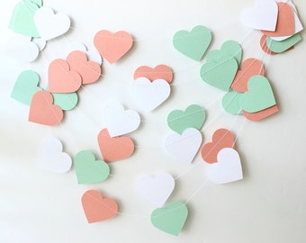 Wedding Garland, Mint Green, Coral & White Paper Hearts 10 ft - Bridal Shower Decor, Photo Prop, Baby Shower Decor, Heart Garland, Custom