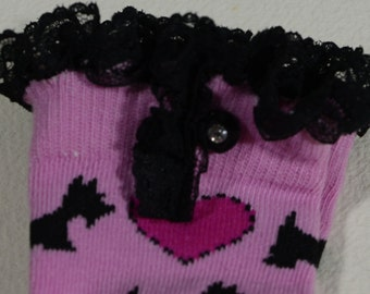 Girls Boot Socks, trim Lace and Buttons High Knee Hot Pink and black color socks, Kids socks