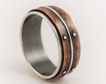 Unique mens wedding ring - men engagement ring,silver copper ring,rustic ring,men's ring