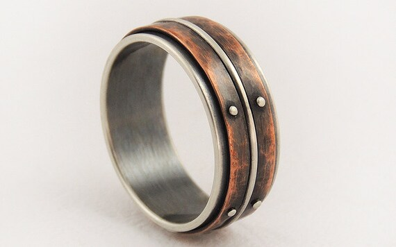 unique mens wedding ring engagement ringsilver copper