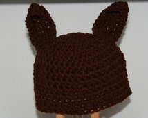 Pointy Ear Crochet Beanie Hat. Brown. Animal Costume Hat. Great For Being A Horse, Bat, Kangaroo, Dog, Rabbit...Choose the size and colour!