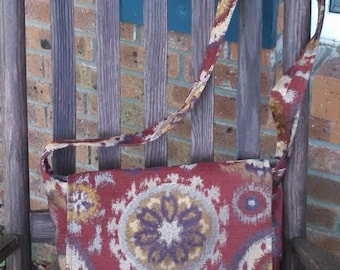 Up cycled messenger or cross body bag.