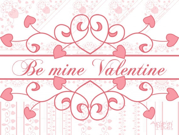 Valentine clip art set - flourish borders & corners - with Valentine quotes