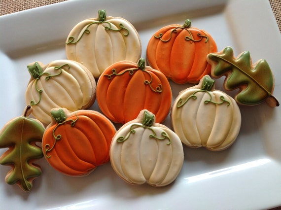 1 dozen fall/ thanksgiving pumpkin and leaf cookies