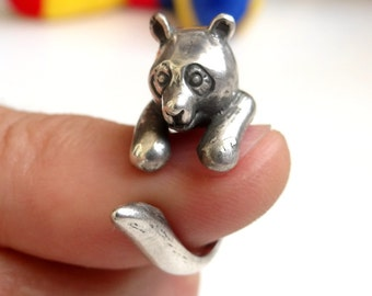 Sterling Silver Ring Panda Ring COOL Animal Ring, Best Selling Animal Jewelry, Children's Jewelry Sizes - 4, 5, 6, 7, 8, 9