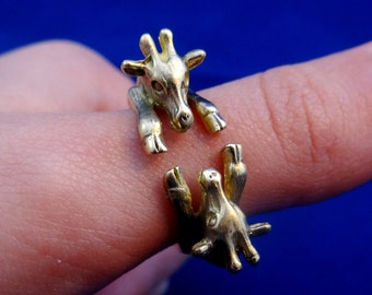 Mini Giraffes around Wrap Ring in Brass Best Gift Idea For Your Children American Girl Armenia Art Available US Sizes are 4 - 9