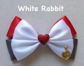 white rabbit hair bow