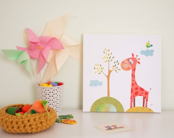 Nursery canvas art, baby room decor, animal canvas, giraffe nursery art, kids wall art canvas, canvas art for nursery, childrens room art