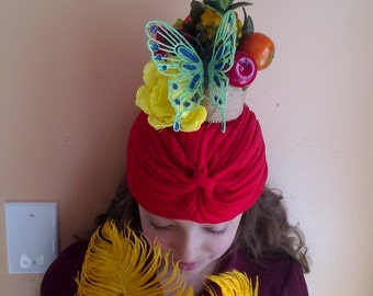 HEADPIECE . Fruits and Butterfly . CARNIVAL Headpiece  .
