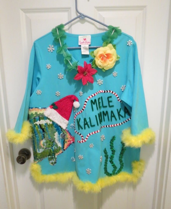 Tacky ugly christmas sweater tropical delight sz 1x sequined feather