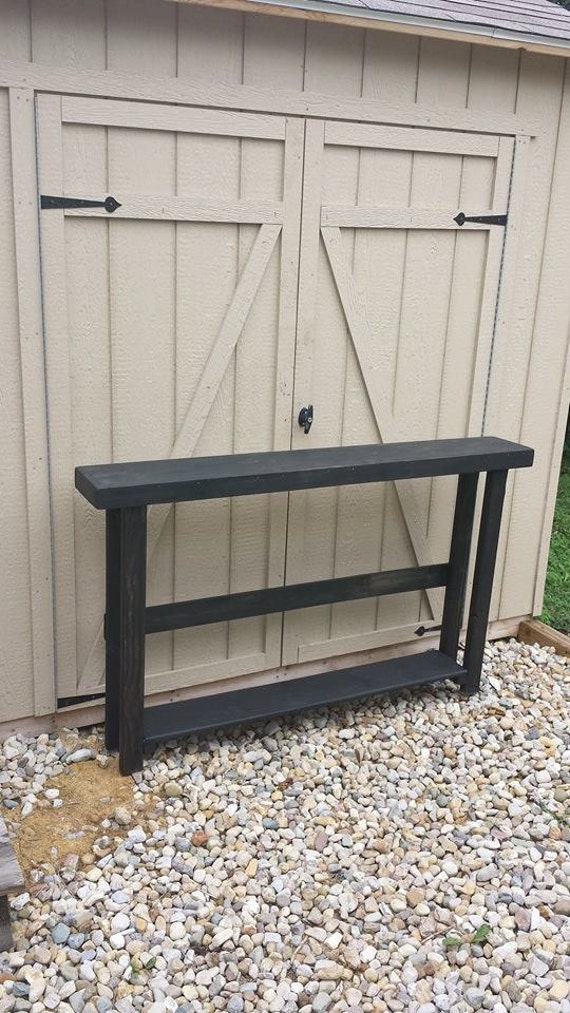Beautiful black stained 5 foot sofa console table w bottom for 5 foot console table