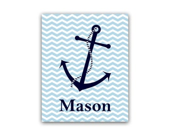 Personalized Kids Wall Art, DIGITAL DOWNLOAD Nautical Kids Name Art, Printable Wall Art, Boys Room Decor, Nautical Nursery Art - KIDS41