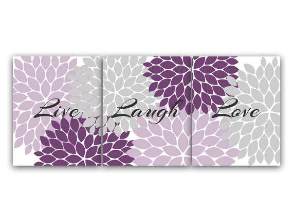 Purple and grey bedroom decor live laugh love instant for Purple wall art