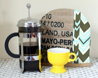 French Press Cover, keeps coffee hotter.  Made from coffee sack. Available in 8 cup or 12 cup french press.