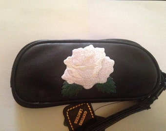 White Rose Leather SunGlass Case Sunglasses Roses