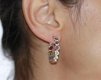 Hoop Earrings 925 Sterling Silver Earrings Cubic Zirconia Multicolor Hoop Earrings 14 Karat White Gold Plated