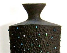 Black Flower Vase Jewelry Decorated Vase Up cycled Flower Vase OOAK Flower Artdeco Style Vase Beaded Vase Eclectic Vase for Home Decor