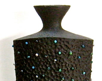 Black Flower Vase, Jewelry Decorated, Repurposed Home Decor, Art deco Style Vase, Beaded Eclectic Vase, Repurposed Accent, Up cycled Vase
