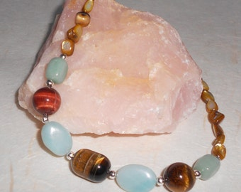 Tiger eye, Amazonite, Green Aventurine and Mother of Pearl Necklace