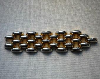 Vintage Chunky Wide Gold Tone Link Bracelet