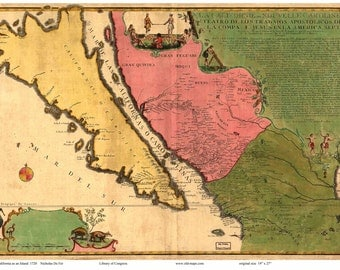 California 1720 Map  De Fer    Reprint