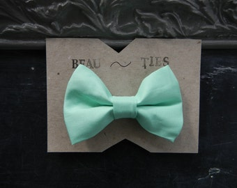 Baby Boy Toddler clip-on bow tie Mint Green