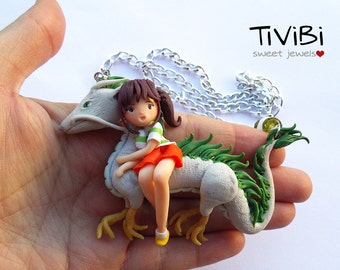 Spirited Away necklace, Haku and Chihiro, Studio Ghibli handmade, Dragon Polymer Clay