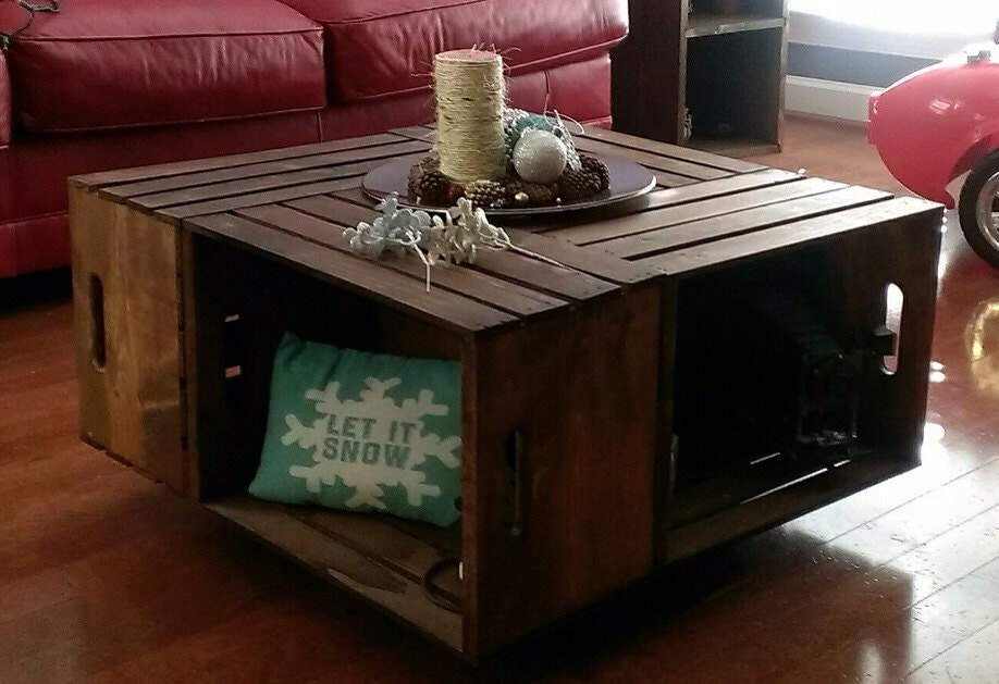 Wooden crate coffee table for Wooden crate end table