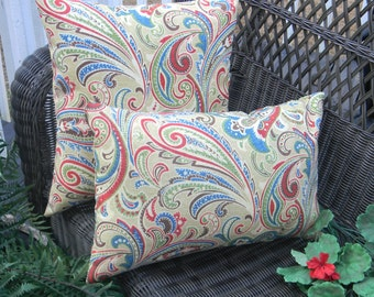 Set of 2 - Indoor / Outdoor Decorative Throw Pillow Rectangle / Lumbar Pillow - Blue, Red, Green, Tan, Paisley