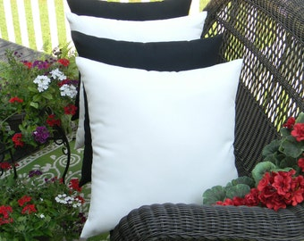 "Set of 4 - 20"" Indoor / Outdoor Decorative Throw Pillows - Solid Black & White"