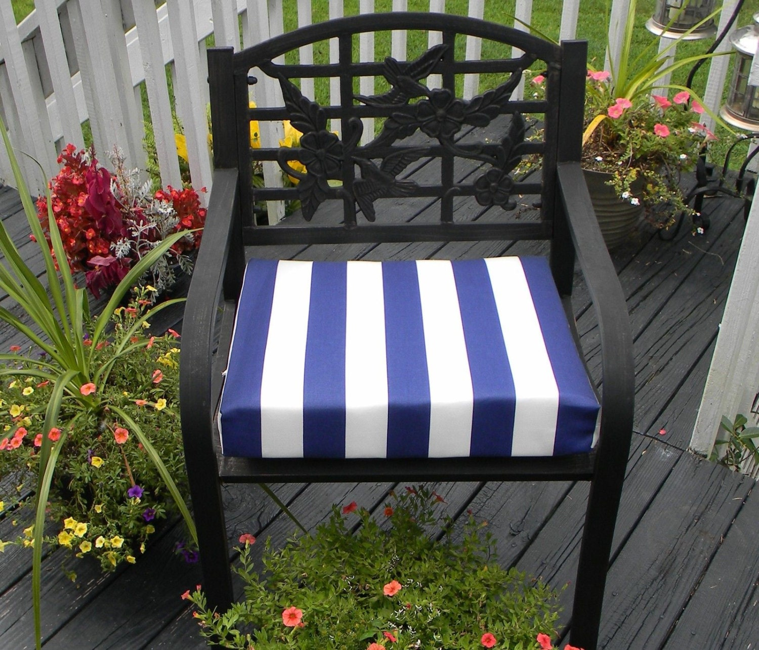 indoor outdoor universal foam seat cushion with ties navy