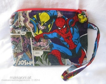 Zippered Wristlet/Clutch in a Great Marvel Comics Fabric, Featuring Spiderman