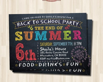Back to School Party Invitation. End of Summer Party. Printable Chalkboard Party Invitation