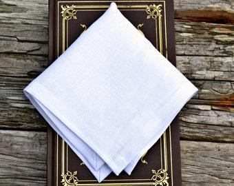 White Linen Handkerchief, Irish Linen Handkerchief, White Pocket Square, Formal Pocket Square, Linen Pocket Square, Linen Hankerchief,