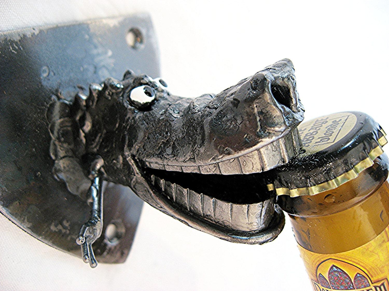 Alligator bottle opener wall mounted handmade from recycled - Alligator bottle opener ...