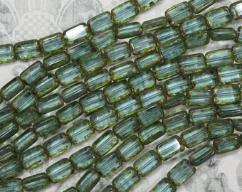 Vintage Bottle Blue/Green Czech Tablet Beads With Picasso Edge - Item 1488