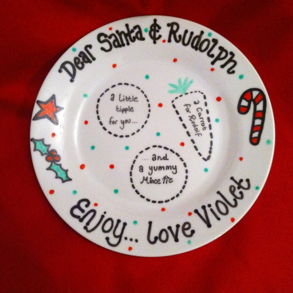 Items Similar To Personalised Plate For Santa Uk Hand