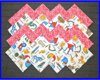 40 Alphabet Soup ~ Fabric Squares/Quilt blocks/Kits/Sewing/Material/Cotton/4x4 Blocks/Quilting