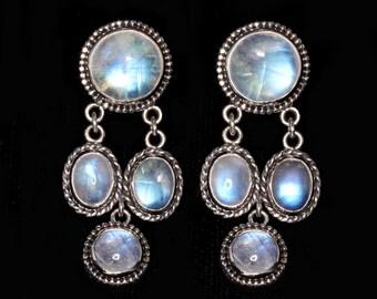 Rainbow Moonstone Clip Earrings, Sterling Silver Clip Earrings, Dangle Clip Earrings, Moonstone Clip On Earrings: OPHELIA CLIPS