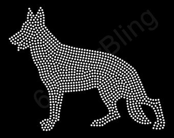"Rhinestone Iron On Transfer ""German Shepherd"" Large filled silhouette bling dog design"