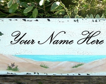Custom Beach Sign Tropical Sign Personalized Sign Wood Sign Hand Painted Sign