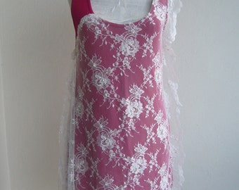 Lace basic bridal/women top lace in fuschia color/tunic asymetric upcycled