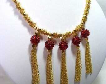 Gold and Red Tassel Necklace