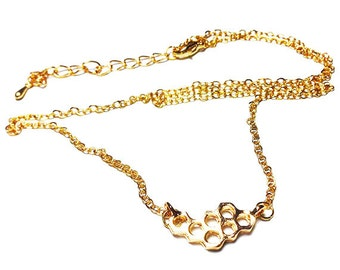 4 Pcs Honeycomb Pendant Chain Necklace. Gold-Plated. Free Shipping.