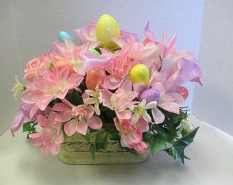 Easter wicker box Silkflower arrangement Centerpiece Spring OOAK