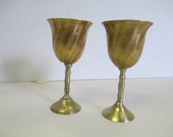 Vintage set of 3 small brass mini goblets. used